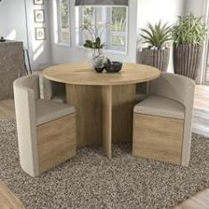 Imagem de Sala de Jantar Conjunto de Mesa Redonda Nirá 1,08m com 4 cadeiras Kappesberg Jantar