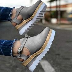 Imagem de Sandálias femininas CAETNY chinelos sandálias de verão sandálias plataforma e sandálias de cunha Sapatos baixos com borla de cabeça redonda e chinelos, relógio com fivela baotou retrô