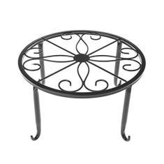 Imagem de Misright Suporte para plantas em vaso de ferro, suporte decorativo para vaso de flores em ambientes internos/externos, suporte para vaso de jardim pesado redondo