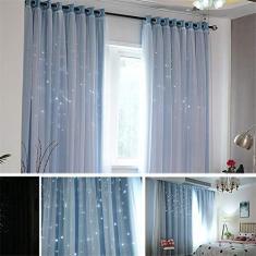 Imagem de glueckind Cortina blecaute de estrela para crianças e meninas, cortina blecaute com camada dupla de tule, cortina decorativa com listras para quarto, sala de estar, 1 painel