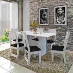 Imagem de Conjunto Sala de Jantar Mesa 150cm 6 Cadeiras Vera Indekes