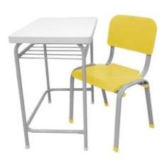 Imagem de Carteira Escolar Infantil com Cadeira Lg Flex Reforçada Amarela