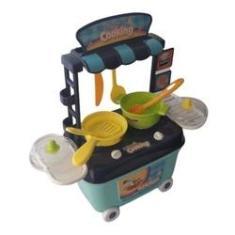 Imagem de Cozinha Brinquedo Infantil Panela Frigideira Fogãozinho com Rodinhas - Cute Toys
