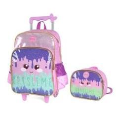 Imagem de Kit mochila de rodinha infantil feminina slime lilas 35522