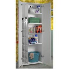 Imagem de Armário Multiuso Lavanderia Cozinha  2 Portas Área de Serviço c/ rodinhas