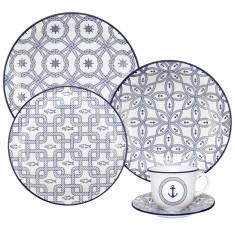Aparelho de Jantar Redondo de Porcelana 30 peças - Floreal Nautico Oxford Porcelanas