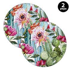 Imagem de Sousplat Mdecore Floral 32x32cm Rosa 2pçs
