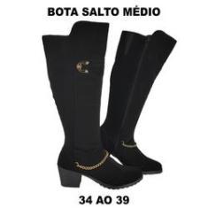 Imagem de Bota Feminina Nobuck Salto Médio ou Montaria Luxo Charmosa A4003