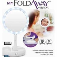 Imagem de Espelho De Mesa Com Aumento 10x E Iluminaçao Led Dobravel E Articulavel Portatil Para Maquiagem