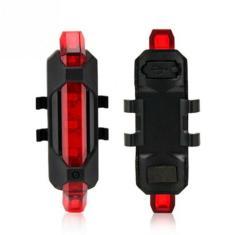 Imagem de SINALIZADOR LANTERNA PARA BICICLETA BIKE 5 LEDS TRASEIRO PISCA USB RECARREGAVEL