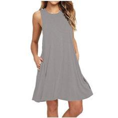 Imagem de SLENDIPLUS Vestidos de verão para mulheres com bolsos sólidos, lindo , casual, moderno, gola redonda, solto, sem mangas, acima do joelho, , XXG