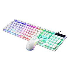 Imagem de balikha Teclado Mecânico RGB com Fio E Conjunto de Combinação de Mouse, Teclado Mecânico Estilo Punk Compatível com Windows XP/Vista / Win7 / Win -