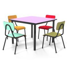 Conjunto Escolar 80x80cm Juvenil Colorido Mesa Uva