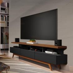 Imagem de Rack Para Tv Até 72 Polegadas Vivare Wood Móveis Germai Black/Freijó