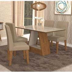 Imagem de Conjunto Sala De Jantar Mesa Tampo De Vidro Retangular Alana 4 Cadeiras Milena Cimol Savana/Off White/Sued Marfim