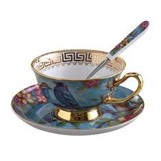 Imagem de Conjunto de xícaras de chá de café de cerâmica, xícaras de chá de porcelana e pires com tampa e colher para cozinha e casa