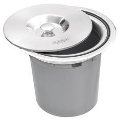 Imagem de Lixeira De Embutir Tramontina 5 Litros Clean Round Com Balde Plástico Em Aço Inox
