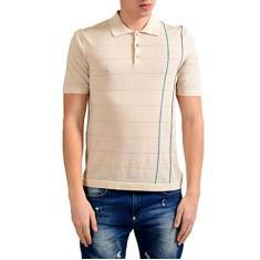 Imagem de Camisa polo masculina de manga curta listrada bege da MALO, Bege, US S IT 48;