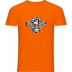 Imagem de Camiseta Poly Laranja Caveira Moto