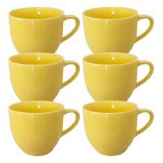 Imagem de Jogo 6 Xícara Chá Café Amarela 170Ml Porcelana