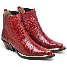Imagem de Bota Texana Masculina Country Botina Bico Fino Couro Jacaré Cor:;Tamanho:38