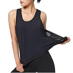 Imagem de SELILALI Camiseta regata feminina de malha com costas nadador esportiva para corrida, treino, sem mangas, academia, ioga, ajuste solto (, M)