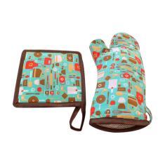 Imagem de Luva Termica cozinha estampada kit com descanso de panela