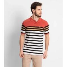 Imagem de Camiseta polo laranja com listras