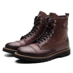 Imagem de Bota Coturno Masculino BM Couro Cano Medio Macio Black Boots Vinho