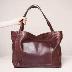 Imagem de VELIHOME Bolsa feminina de couro sintético macio – Bolsa de ombro vintage com bolso grande volume bolsa grande, bolsa lateral grande fashion