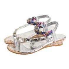 Imagem de Moda Rhinestone Lady Sandals Floral Bandage Shoes sola de dentro Trançado Sandálias