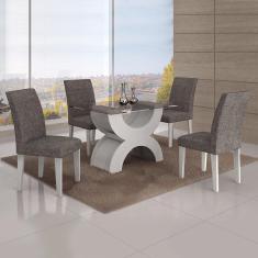 Imagem de Conjunto Sala De Jantar Mesa Tampo Vidro 120Cm 4 Cadeiras Olímpia New Leifer /Linho