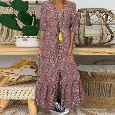 Imagem de Vestido de camisa longo estilo vintage feminino floral estampado 3/4 manga comprida com decote em V Vestido de verão boêmio maxi  5XL
