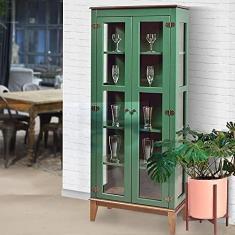 Imagem de Cristaleira de Madeira Maciça 2 portas - Verde