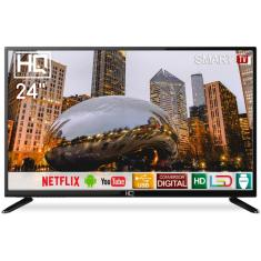 """Smart TV LED 24"""" HQ HQSTV24NP 2 HDMI LAN (Rede)"""