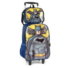 Imagem de Kit mochila de rodinha infantil escolar masculino batman  original 35581