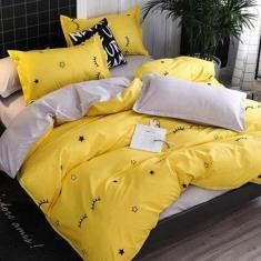 Imagem de Jogo De Cama Casal Yellow Dark 7 Peças Com Edredom