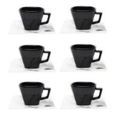 Imagem de Conjunto Xícara Chá com Pires 6 Peças Quartier Tattoo Oxford