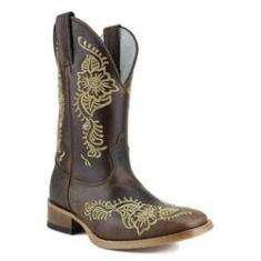 Imagem de Bota Mr West Boots Texana Feminina Tabaco Ouro