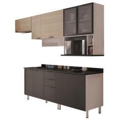 Imagem de Cozinha Completa 3 Gavetas 9 Portas Izabel Porta com vidro Bartira