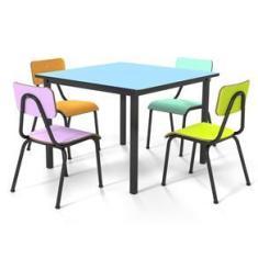 Imagem de Conjunto Escolar 80x80cm Juvenil Colorido Mesa  Francês