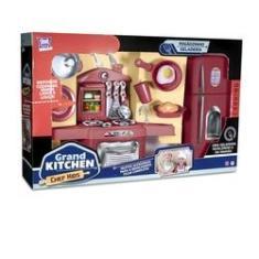 Imagem de Kit Fogaozinho De Brinquedo Com Geladeira Grand Kitchen Chef Kids 18 Pecas