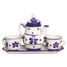 Jogo De Chá - Decoração Cozinha - Bule Xícara De Cerâmica