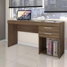 Imagem de Escrivaninha Mesa Para Computador 2 Gavetas Office Nogal
