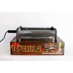 Imagem de churrasqueira elétrica craqueada top grill 2 sem fumaça