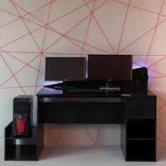 Mesa Gamer com LED Gothan 2 GV Preta