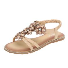 Imagem de Moda feminina feminina cristal floral aberto sandálias de praia sapatos de salto baixo