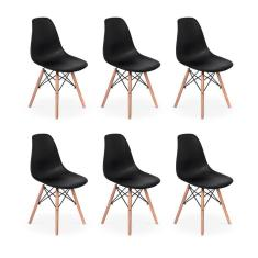 Imagem de Conjunto 6 Cadeiras Charles Eames Eiffel Wood Base Madeira -