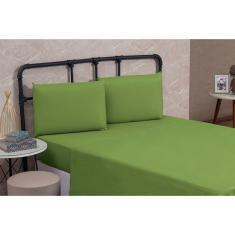 Imagem de Kit 5 Lençol Casal queen Avulso sem elástico liso Microfibra Premium Cama Box 01 Peça todos verde