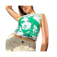 Imagem de Regata feminina sexy y2k E-Girls dos anos 90, sem mangas, gola redonda, estampa de retrato, top cropped de verão, Verde, , G
